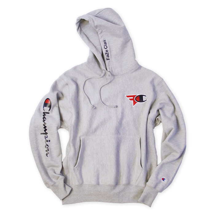495c6e47f334 FaZe Clan x Champion Hoodie Heather Grey