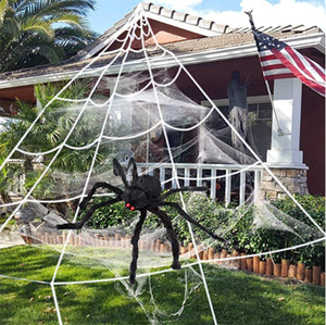 EZIGO Halloween Spider Decorations 3 Pack (1 Spider + Triangle Web + Stretch Web)