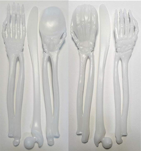 Skeleton Plastic Silverware Set Plasticware: Non Disposable Cutlery Forks and Spoons and Knives Heavy Duty Party Utensils Lifetime Guarantee (6 Utensil Place Setting - 18 Total Pieces)