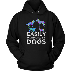 Easily Distracted by Mustangs and Dogs Funny T-shirt