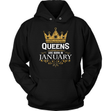 Queens Are Born In January Girls Women Birthday T Shirt