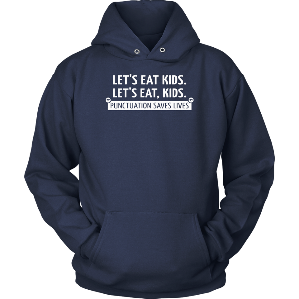 Let's Eat Kids Punctuation Matters - Funny Grammar Spelling Mens T-Shirt