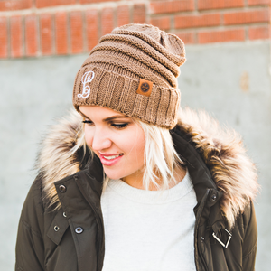 Soft cable knit beanie hats