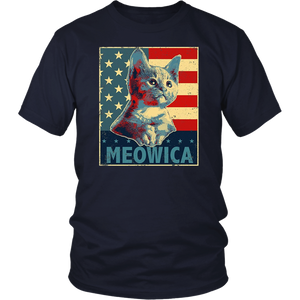 MEOWICA 4th of July T-Shirt America Cat USA Flag Patriotic