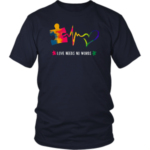Autism Awareness Love Needs No Words Shirt With Puzzle Piece