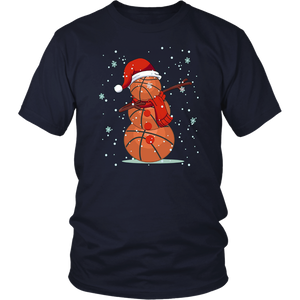 Dabbing Snowman Basketball Lover Christmas Shirt
