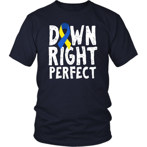 Down Right Perfect T-Shirt Down Syndrome Awareness Gift