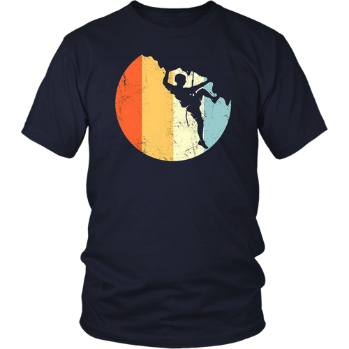 Vintage Hiking T Shirt Hiker on Rock Retro Sunset Silhouette