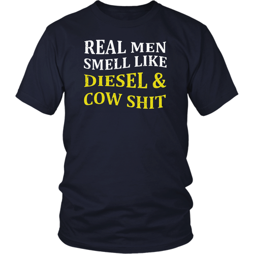 Funny Farmer Tee-Real Men Smell Like Diesel And Cow Shirt