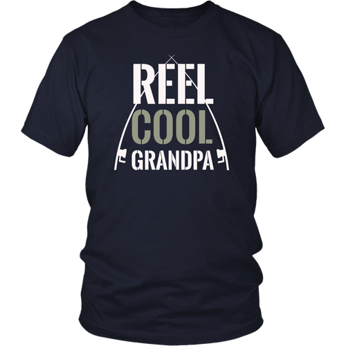 Reel Cool Grandpa Shirt Fishing Dad Grandad Christmas Tee
