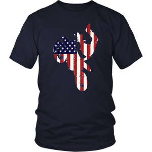Distressed American Flag and Motorcycle, Biker T-shirt