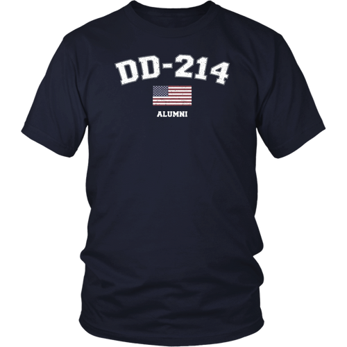 DD-214 US Armed Forces Alumni USA Flag Vintage T-Shirt
