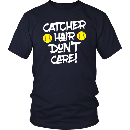 Funny Softball Catcher Hair Don't Care Gift T Shirt