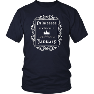 Princesses Are Born In January T-Shirt Birthday T-Shirt