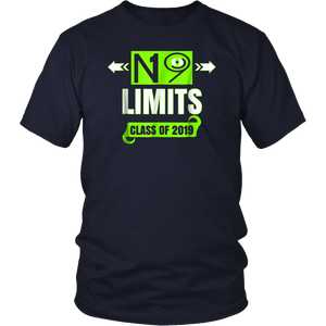 2019 Senior Shirt Cool No Limits Class Of 19 Lime Green Grad
