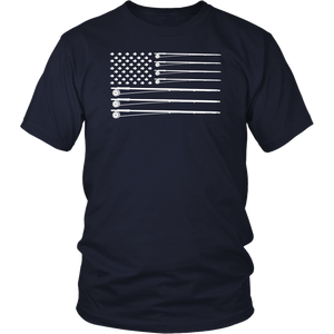 Fishing T-Shirt American USA Flag Fishing Pole