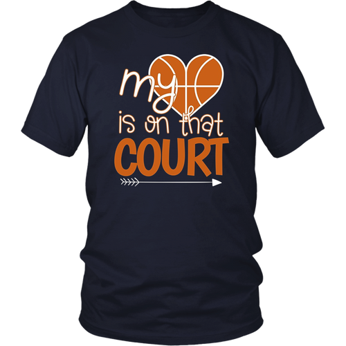 My Heart Is On That Court Volleyball Mom Sport Cheer T-Shirt