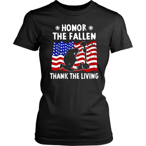 Veteran Shirt Honor the Fallen Thank the Living USA Flag
