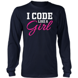 I Code Like A Girl Keep Up Sarcasm Humor Tech System T-Shirt