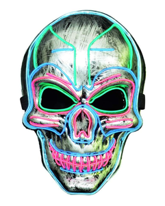 LUKAT LED Halloween Mask, Scary Halloween Costume Mask with EL Wire Light up 3 Flashing-Modes and Soft Sponge for Halloween Cosplay