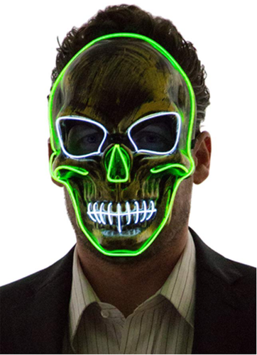 Neon Nightlife Light Up Scary Skeleton Skull Death Halloween LED Grim Reaper Costume Mask