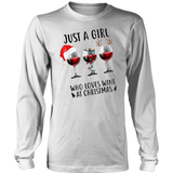 Just A Girl Who Loves Wine and Christmas T-Shirt