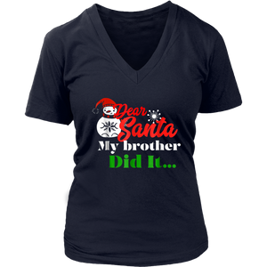 Dear Santa My Brother Did It TShirt Funny Family Christmas