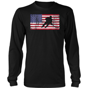USA AMERICAN FLAG HOCKEY T SHIRT HOCKEY STICK FLAG SHIRT