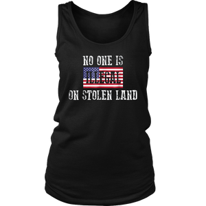 No One Is Illegal on Stolen Land July 4th Patriotic T-shirt