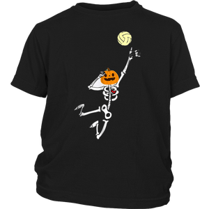 Volleyball Lover Pumpkin Skeleton Dabbing Costume T-Shirt