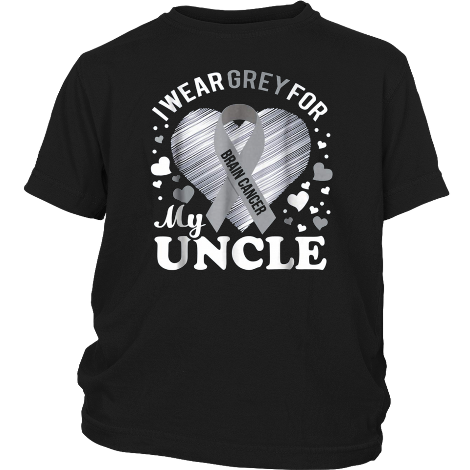 I Wear Grey For My UNCLE Brain Cancer Awareness T Shirt