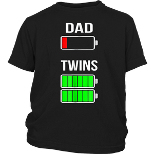 Tired Twin Dad Low Battery Charge T-Shirt