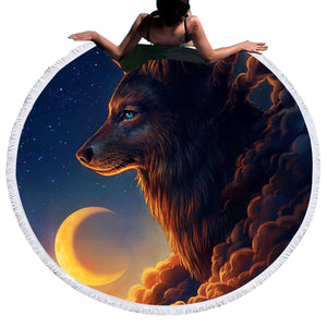 Night Guardian by JoJoesArt Round Large Tapestry