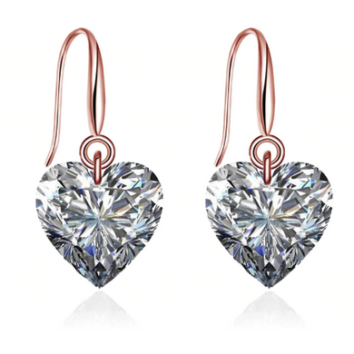 Amara | Rose Gold Crystal Heart Wedding Bridal Earrings-Glitzy n Glamorous