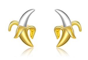 Banana Gold and Sterling Silver Stud Earrings-Glitzy n Glamorous