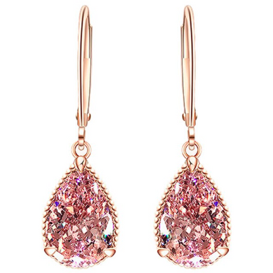 Sophia | Pink CZ Crystal Diamante Rose Gold Drop Earrings-Glitzy n Glamorous