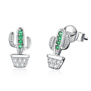 Corina | Sterling Silver & Green Cubic Zirconia Cactus Earrings-Glitzy n Glamorous