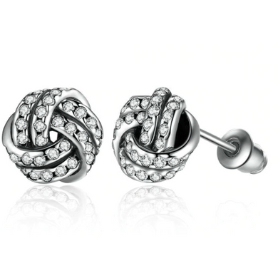 Danika | Silver Plated Knot Stud Earrings-Glitzy n Glamorous
