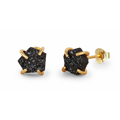 Druzy | Gold Plated Sterling Silver Black Druzy Stud Earrings-Glitzy n Glamorous