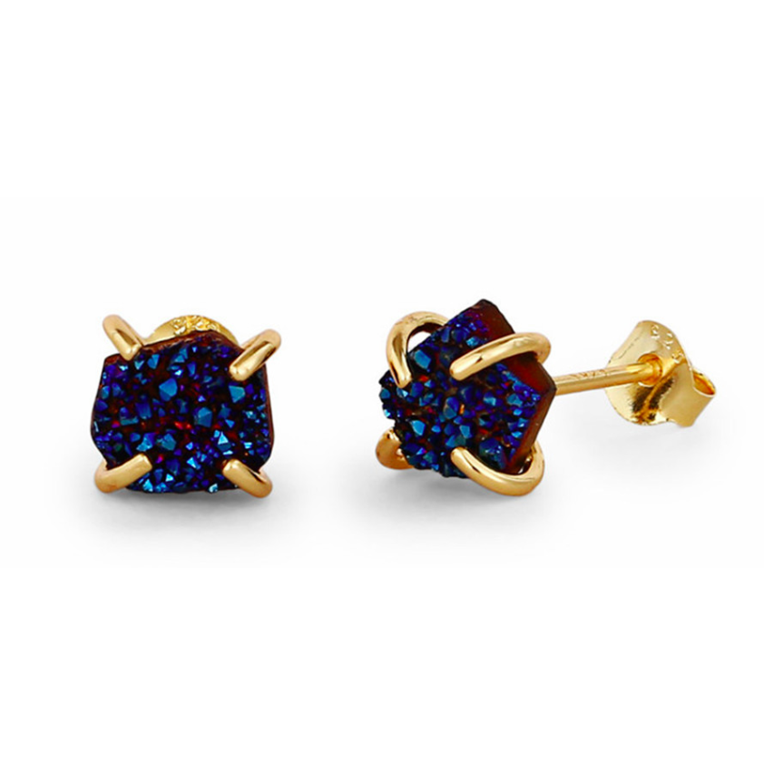 Druzy | Gold Plated Sterling Silver Navy Blue Druzy Stud Earrings-Glitzy n Glamorous