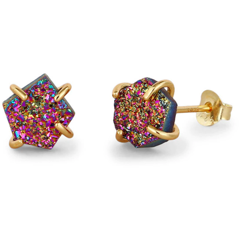 Druzy | Gold Plated Sterling Silver Rainbow Crystal Druzy Stud Earrings-Glitzy n Glamorous