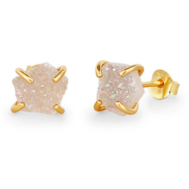 Gold Plated Sterling Silver Opal White Crystal Druzy Stud Earrings