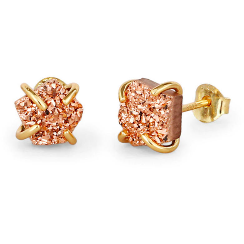 Druzy | Gold Plated Sterling Silver Rose Gold Druzy Stud Earrings-Glitzy n Glamorous