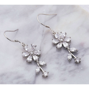 Lily | Silver CZ Crystal Flower Wedding Bridal Earrings-Glitzy n Glamorous