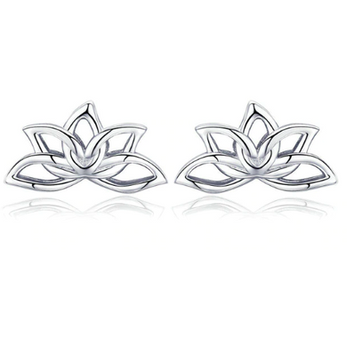 Lois | Sterling Silver Lotus Leaf Stud Earrings-Glitzy n Glamorous