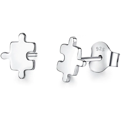 Missing Piece | Sterling Silver Jigsaw Piece Stud Earrings-Glitzy n Glamorous