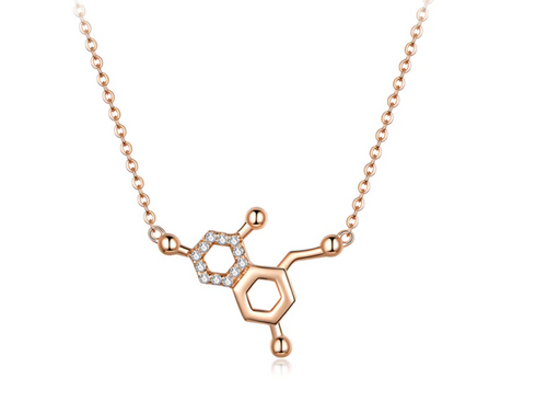 Nora | Molecular Biology Science Rose Gold Plated Sterling Silver Necklace-Glitzy n Glamorous