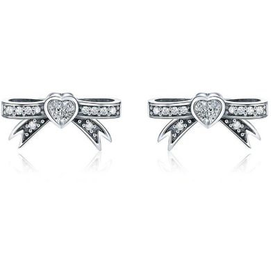 Olivia | Sterling Silver Bow Crystal Stud Earrings-Glitzy n Glamorous