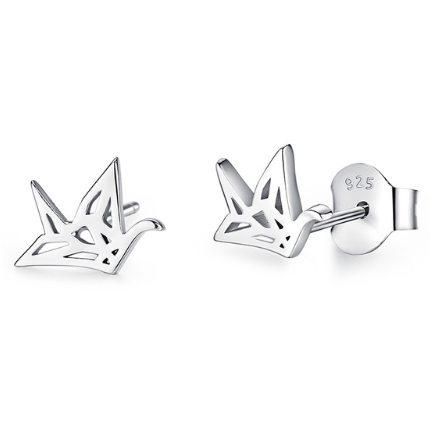 Ori | Sterling Silver Origami Bird Stud Earrings-Glitzy n Glamorous