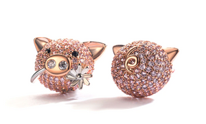 Babe | Rose Gold Pink Crystal Pig Earrings-Glitzy n Glamorous